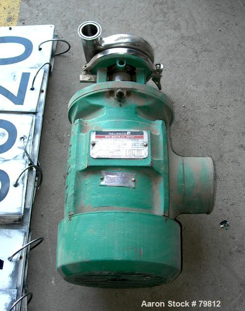 """Used- Tri-Clover Tri-Flo Centrifugal Pump, 316 Stainless Steel. 2-1/2"""" tri-clamp inlet, 2"""" tri-clamp outlet. Direct driven b..."""