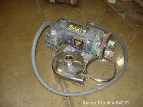 "USED: Centrifugal pump, 316 stainless steel. 2"" tri clamp inlet, 1-1/2"" tri clamp outlet. Driven by a 3/4 hp, 3/60/230/460 v..."