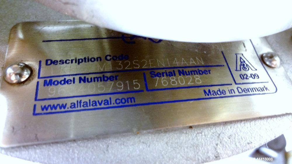 Used- Alfa Laval Centrifugal Pump, Model LKH05-M132S2EN14AAN, 316 Stainless Steel.  Rated approximately 50 gallons per minut...