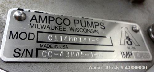 """Used- Ampco Centrifugal Pump, Model C114MD14T-S, 316 Stainless Steel. Approximately 15 gallons per minute.  1-1/2"""" Tri-clamp..."""