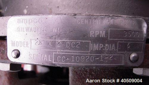 "Used- Ampco Centrifugal Pump, Model DC2 2 1/2X2, stainless steel. 2 1/2"" tri-clamp inlet, 2"" tri-clamp outlet. Approximate c..."