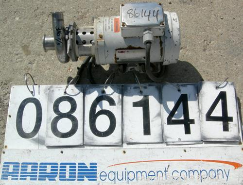"USED: APV Centrifugal Pump, model 4V2, 316 stainless steel. 2"" tri clamp inlet, 1-1/2"" tri clamp outlet. Approximate capacit..."