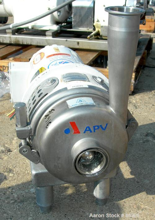 "USED: APV centrifugal pump, model W20/20, 316 stainless steel. 2"" tri clamp inlet, 2"" tri clamp outlet. Approximate capacity..."