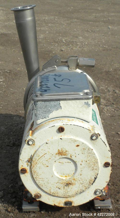 """Used- APV Centrifugal Pump, model W+22/20, 316 stainless steel. Approximate capacity 100 gallons per minute at 20' head. 2"""" ..."""