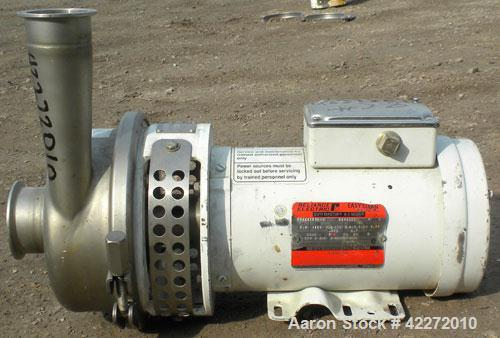 """Used- APV Centrifugal Pump, model W30/50, 316 stainless steel. Approximate capacity 140 gallons per minute at 3' head. 3"""" Tr..."""