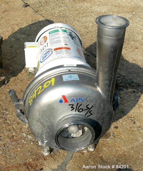 "Used- APV Centrifugal Pump, Model W50/100, 316 Stainless Steel. 4"" Tri-clamp inlet, 3"" tri-clamp outlet, 7"" diameter impelle..."
