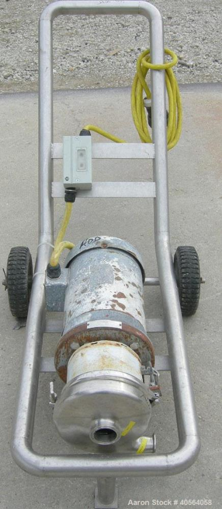 "Used-Tri Clover Centrifugal Pump, Model C216MD18T, 316 stainless steel. 2"" tri-clamp inlet, 1 1/2"" tri-clamp outlet. Approxi..."