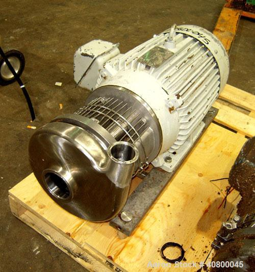 "Used-Waukesha Centrifugal Pump, Model C218, 316 stainless steel. 3"" tri-clamp inlet, 1 1/2"" tri-clamp outlet. Approximate 5""..."