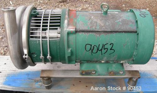 Used: Tri Clover centrifugal pump, model C218MD18T-S-3-18, 316 stainless steel. Approximately 95 gallons per minute at 45' h...