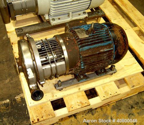 "Used-Waukesha Centrifugal Pump, Model C328, 316 stainless steel. 3"" tri-clamp inlet, 2"" tri-clamp outlet. Approximate 5"" dia..."