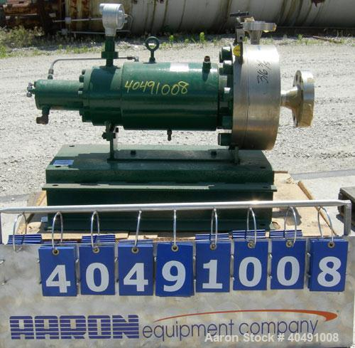 Used- Stainless Steel Crane Chempump Sealess Canned Motor Centrifugal Pump, model GVHT-20K-12H-15S