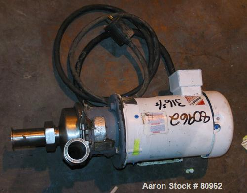 "USED: Crepaco centrifugal pump, 316 stainless steel. 2-1/2"" diameter tri-clamp inlet, 2"" tri-clamp outlet. Driven by a 3 hp,..."
