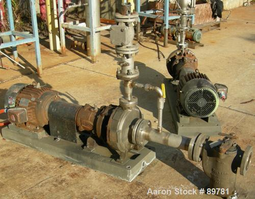 USED: Durco model 3X1.5-10A/65RV centrifugal pump, alloy D4. 15 hp motor, 3540 rpm, 3/60-230/460 volt. Mounted on carbon ste...