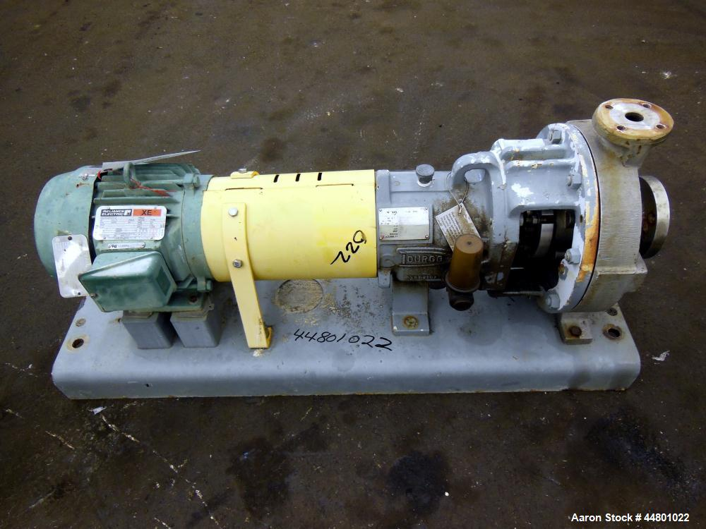 Used- Stainless Steel Flowserve Durco Mark 3 Centrifugal Pump, Model MK3 Lo-Flo