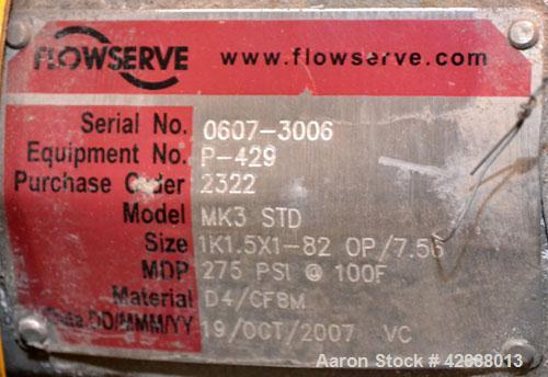 Unused- Stainless Steel Flowserve Durco Centrifugal Pump, Model MK3 STD