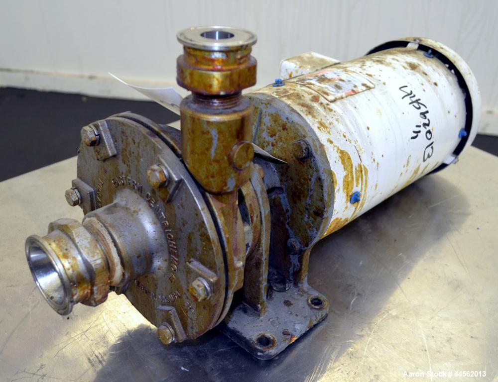 """Used- Eastern Centrichem Centrifugal Pump, Model ECH1-ASAFENSS, 316 Stainless Steel. Approximate 2"""" inlet, 1-1/2"""" outlet. Ap..."""