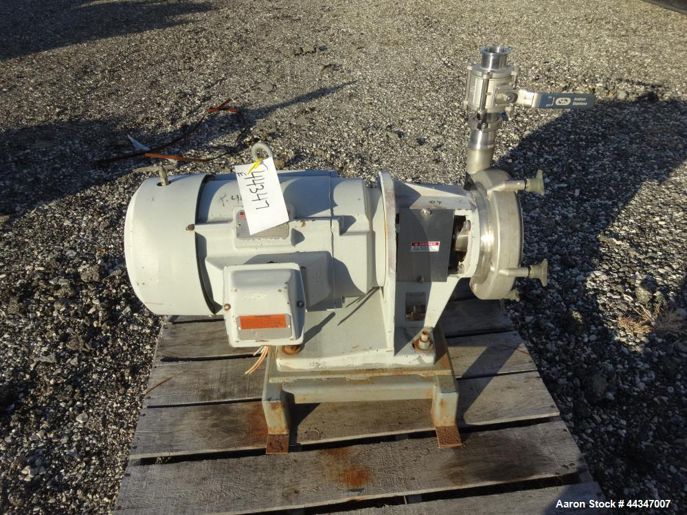 "Used- Fristam Centrifugal Pump, Model FP3452-235, 316 Stainless Steel. Approximate 9"" diameter impeller, 3"" tri-clamp inlet,..."