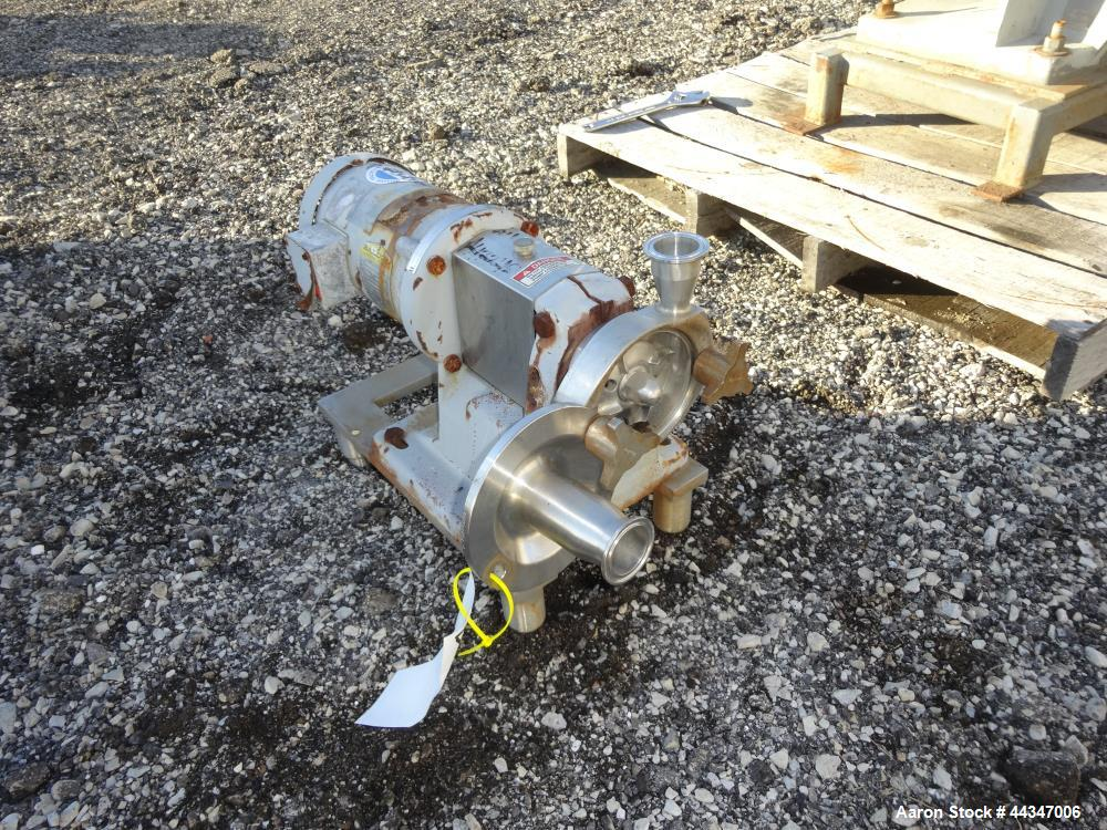 """Used- Fristam Centrifugal Pump, Model FP702-90, 316 Stainless Steel. Approximate 4"""" diameter impeller, 1-1/2"""" tri-clamp inle..."""