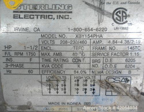"""Used- Fristam Sanitary Centrifugal Pump, model FPX731-160, 316 stainless steel. 2"""" Tri-clamp inlet, 1 1/2"""" tri-clamp outlet...."""