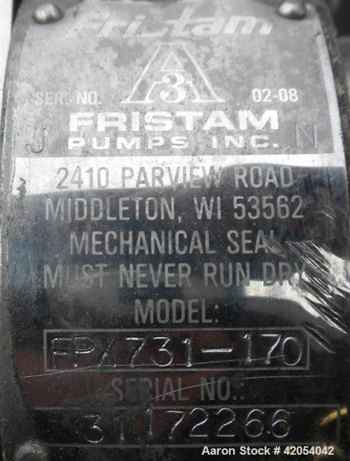 "Used- Fristam Sanitary Centrifugal Pump, model FPX731-170, 316 stainless steel. 2"" sanitary inlet, 1 1/2"" sanitary outlet. A..."