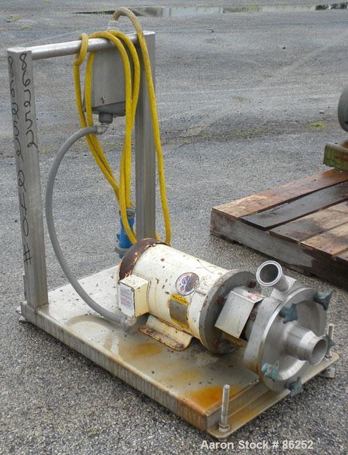 """Used- Fristam Centrifugal Pump, Model FPX732-140, 316L Stainless Steel. 3"""" Tri-clamp inlet, 2"""" tri-clamp outlet. Approximate..."""