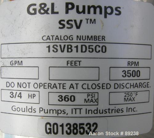 Unused- Stainless Steel G&L SSV Series Vertical Multistage Centrifugal Pump, Model 1SVB1D5C0