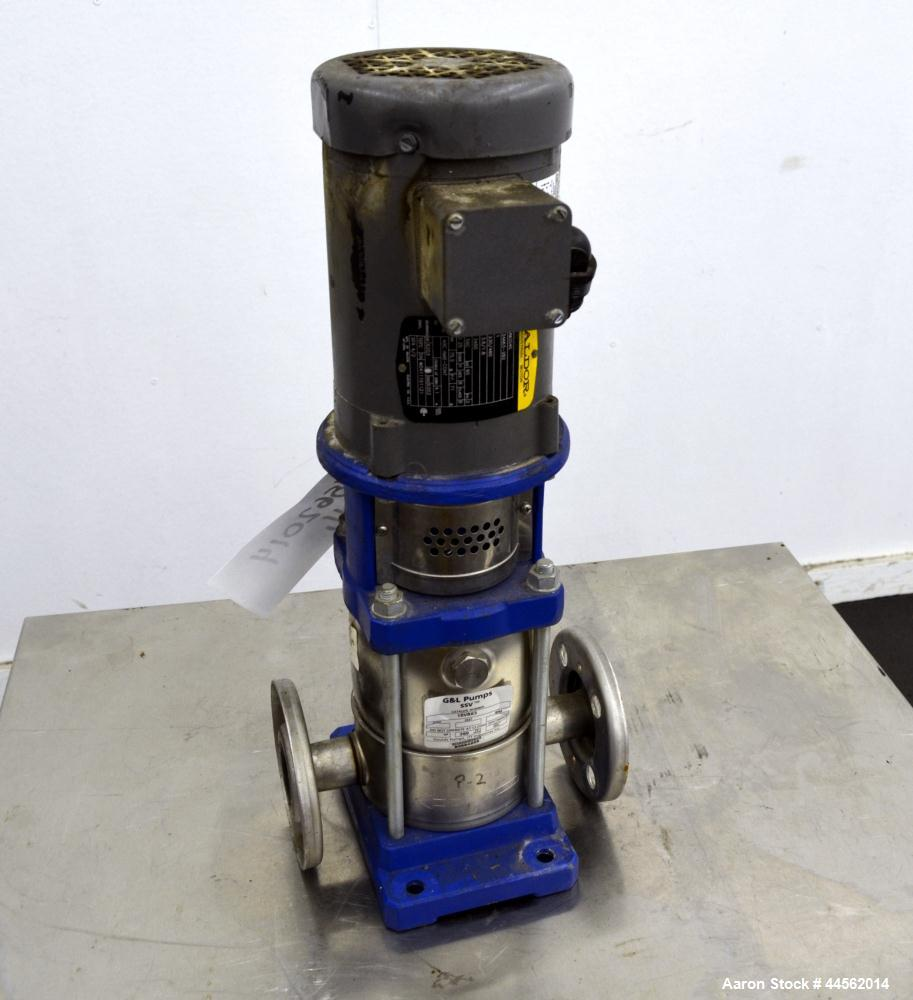 Used- Goulds G&L Series Vertical Multi-Stage Pump, Model 1SVBK3, 304 Stainless Steel. Rated approximate 15 gallons per minut...