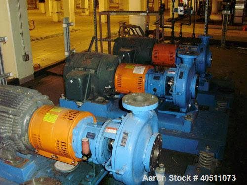 "Used- Goulds Centrifugal Pump, Model 3196 LTX, size 3x4-13, 316 stainless steel. 4"" inlet, 3"" outlet, approximate 7.75"" diam..."