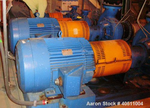 "Used- Goulds Centrifugal Pump, Model 3196 MTX, size 4x6-13, stainless steel. 6"" inlet, 4"" outlet. Driven by a 15 hp, 3/60/23..."