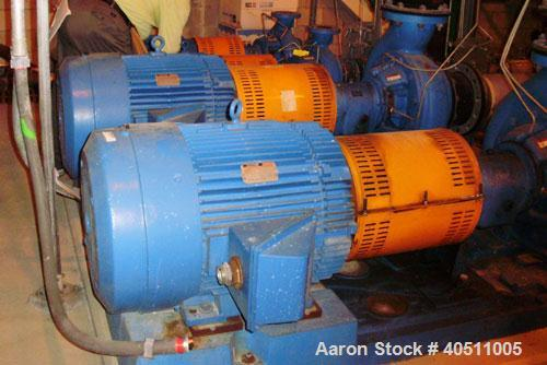 "Used- Goulds Centrifugal Pump, Model 3916 MTX, size 4x6-13, stainless steel. 6"" inlet, 4"" outlet. Driven by a 15 hp, 3/60/23..."
