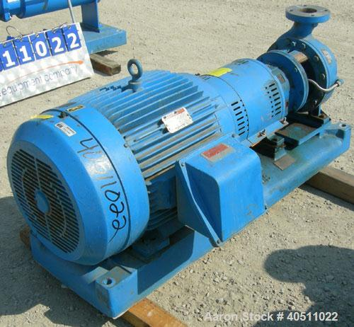 "Used- Goulds Centrifugal Pump, Model 3196 MTX, size 3x4-10, 316 stainless steel. 4"" inlet, 3"" outlet, approximately 9.62"" di..."