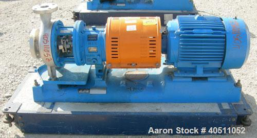 "Used- Goulds Centrifugal Pump, Model 3196 MTX, Size 2x3-8, 316L stainless steel. 3"" inlet, 2"" outlet, approximately 7.25"" di..."