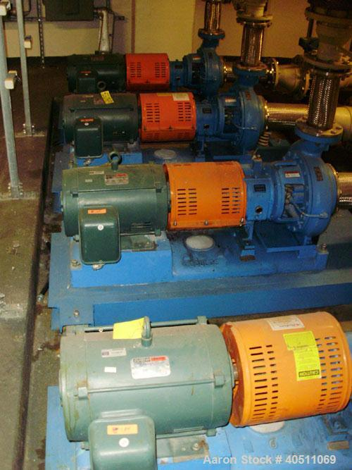 """Used- Goulds Centrifugal Pump, Model 3196 MTX, size 4X6-13, 316 stainless steel. 6"""" inlet, 4"""" outlet, approximately 12.37"""" d..."""
