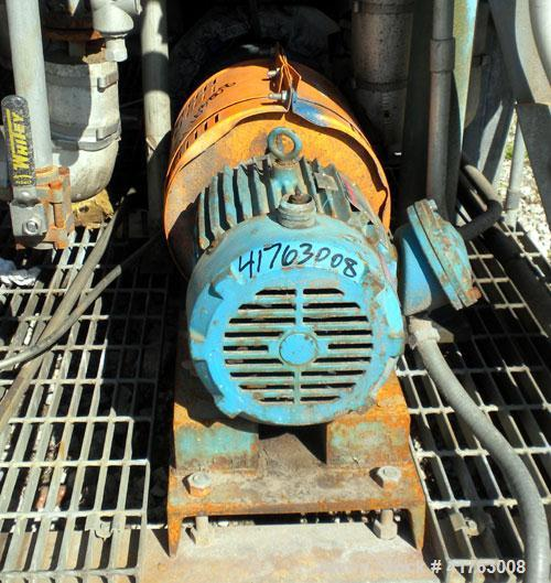 """Used- Goulds Centrifugal Pump, Model 3196 MTX, Size 1x2-10, Stainless Steel. 2"""" inlet, 1"""" outlet, approximately 10"""" diameter..."""