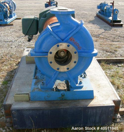 "Used- Goulds Centrifugal Pump, model 3196 XLT-X, size 4x6-17, CD4MCU cast duplex stainless steel. 6"" inlet, 4"" outlet, appro..."