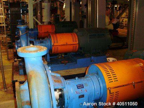 """Used- Goulds Centrifugal Pump, model 3196 XLT-X, size 4x6-17, CD4MCU cast duplex stainless steel. 6 inlet, 4"""" outlet, approx..."""