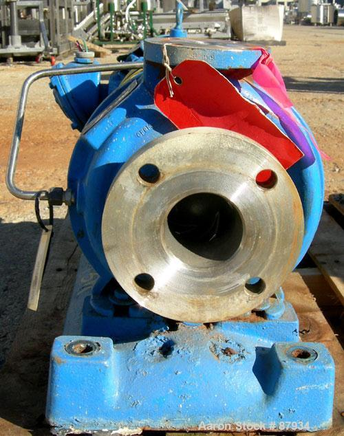 """USED: Goulds centrifugal pump, model 3196, size 1.5x3x8, 316 stainless steel. 3"""" inlet, 1-1/2"""" outlet. Approximate capacity ..."""