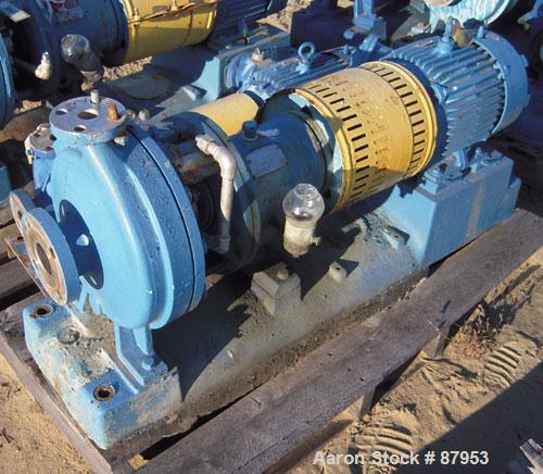 """Used- Goulds Centrifugal Pump, model 3196, size 1x2x10, 316 stainless steel. 2"""" inlet, 1"""" outlet. Approximate 10"""" diameter i..."""