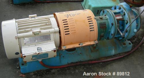 USED: Goulds centrifugal pump, model 3196. 3 x 4 x 10. DI/316 impeller. 10 hp motor, 3/60/460V, 1765 rpm. Mounted on base.