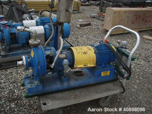 "Used- Goulds Centrifugal Pump, model 3196MT, size 1x2-10, 316 stainless steel. 2"" inlet, 1"" outlet, approximately 10"" diamet..."