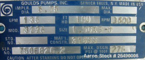 "Used- Goulds Centrifugal Pump, model 3296, S Group, size 1.5x3-8, 316 stainless steel. 3"" inlet, 1-1/2"" outlet, approximatel..."