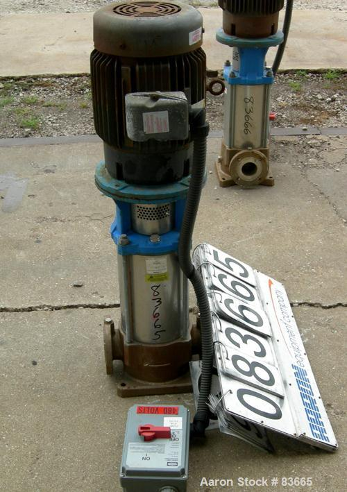 "USED: Goulds vertical multi-stage centrifugal pump, model 5SVDK, 316 stainless steel construction. 2-1/2"" inlet/outlet. Appr..."