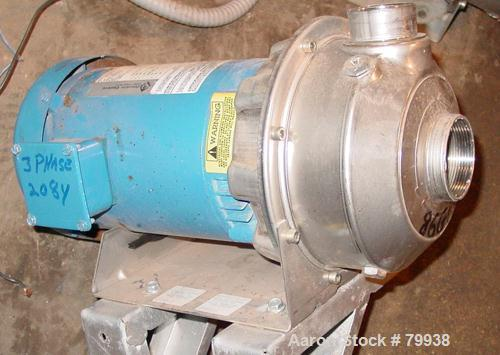 "USED: Goulds centrifugal pump, model NPE, stainless steel. 1-1/2""inlet, 2"" outlet. Impeller size 3-5/8"". Driven by a 1-1/2 h..."