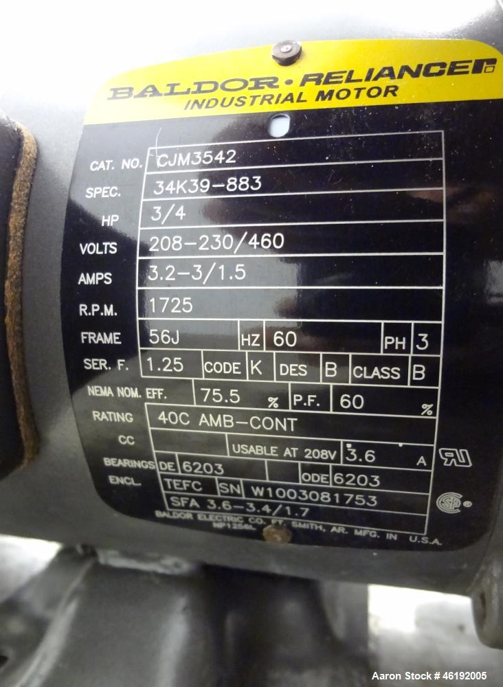 Used- Goulds G&L Series Sanitary Centrifugal Pump, Model GSP, Size 1x1-1/2-5, 316 Stainless Steel. Approximately 25 gallons ...
