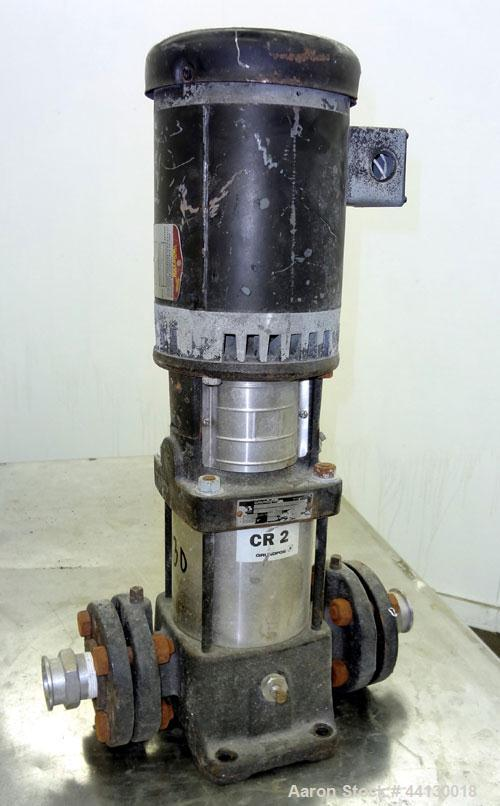 Used- Grundfos CR2 Vertical Multistage Centrifugal Pump, Model CR2-80UGUAAUUE, 316 Stainless Steel. Approximate 11 gallons p...