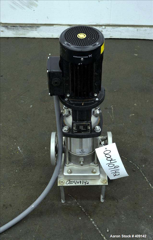 Used- Grundfos CRN3 Vertical Multistage Centrifugal Pump, Type CRN3-8-A-FGJ-G-E-HQQE, Model A96083932-P20833083, 316 Stainle...