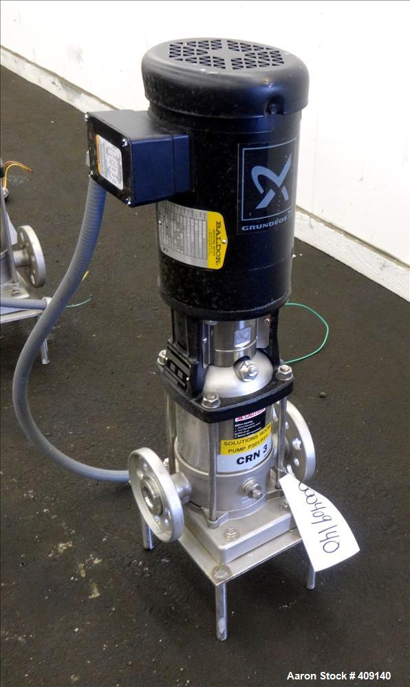 Used- Grundfos CRN3 Vertical Multistage Centrifugal Pump, Type CRN3-8-U-FGJ-G-E-HQQE, Model A96063932P10317US197, 316 Stainl...