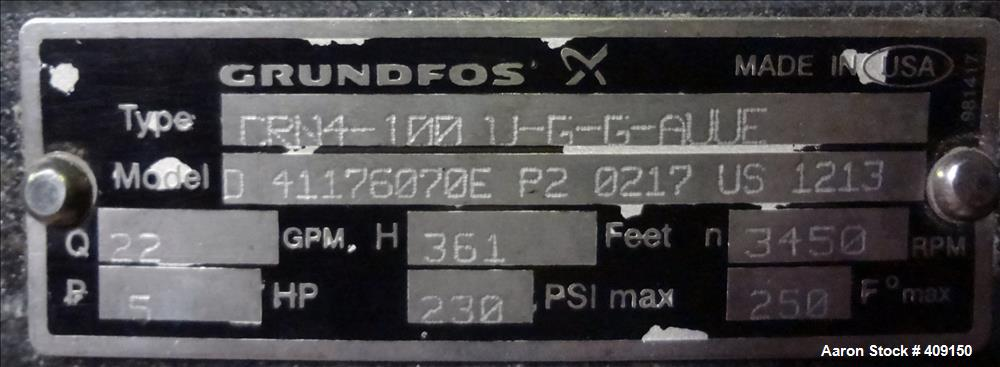 Used- Grundfos CRN4 Vertical Multistage Centrifugal Pump, Type CRN4-110-U-G-G-AUUE, Model D41176070E-P20217US1213, 316 Stain...