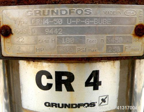 Used- Grundfos Vertical Multistage Centrifugal Pump, Model CRN4-50-U-P-G-BUBE, stainless steel. Rated 22 gallons per minute ...