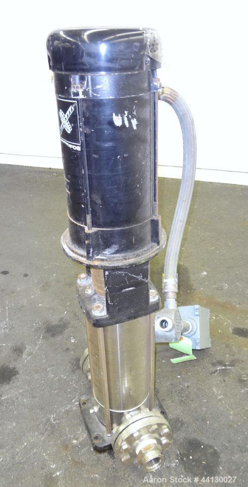 Used- Stainless Steel Grundfos CRN8 Vertical Multistage Centrifugal Pump, Type CRN8-100 U-G-G-AUUE, Model A 42Z96754 P1 0102 US616
